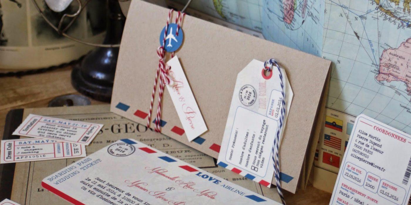 faire part mariage thème voyage, billet d'avion vintage kraft