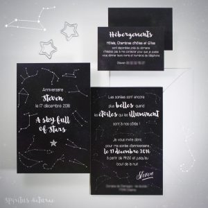 A Sky full of Stars, invitation, mariage, anniversaire, nuit, constellation, étoile, espace, originial, spiritus naturae