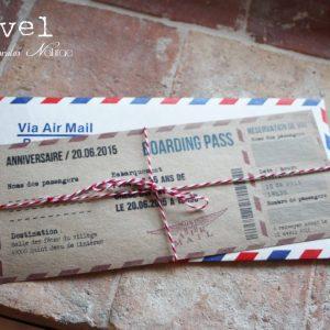 boarding pass voyage invitation anniversaire vintage en papier kraft