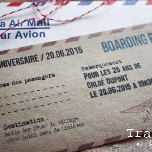 Passeport voyage invitation anniversaire vintage en papier kraft