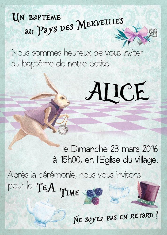 Invitation alice spiritus naturae - Anniversaire alice au pays des merveilles ...