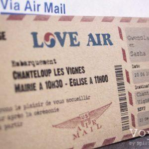 invitation mariage, billet d'avion vintage. Gros plan