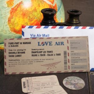 invitation mariage, billet d'avion vintage en papier kraft
