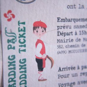 Faire part, voyage, boarding pass, travel, billet avion, vert, rouge, bayonne, basque, sénégal, spiritus naturae