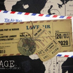 invitation mariage, billet d'avion vintage