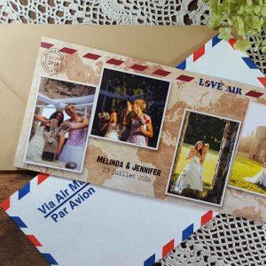 Melinda & Jennifer remerciement enveloppes