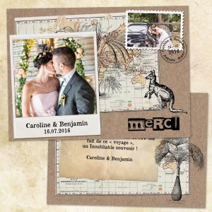 remerciement mariage thème voyage, vintage, kraft
