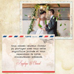remerciement mariage thème voyage, vintage