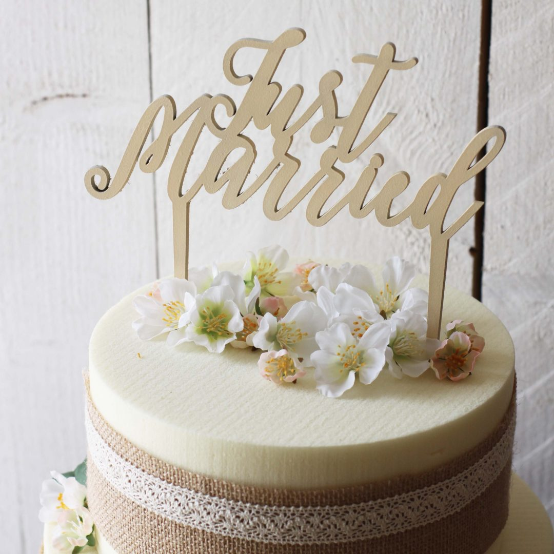 Cake topper just married spiritus naturae - Decoration gateau mariage ...