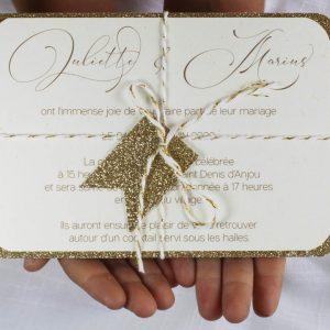 carte invitation fanion, paillette chic, doré, calligraphie, spiritus naturae