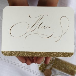 carte merci, paillette chic, doré, calligraphie, spiritus naturae