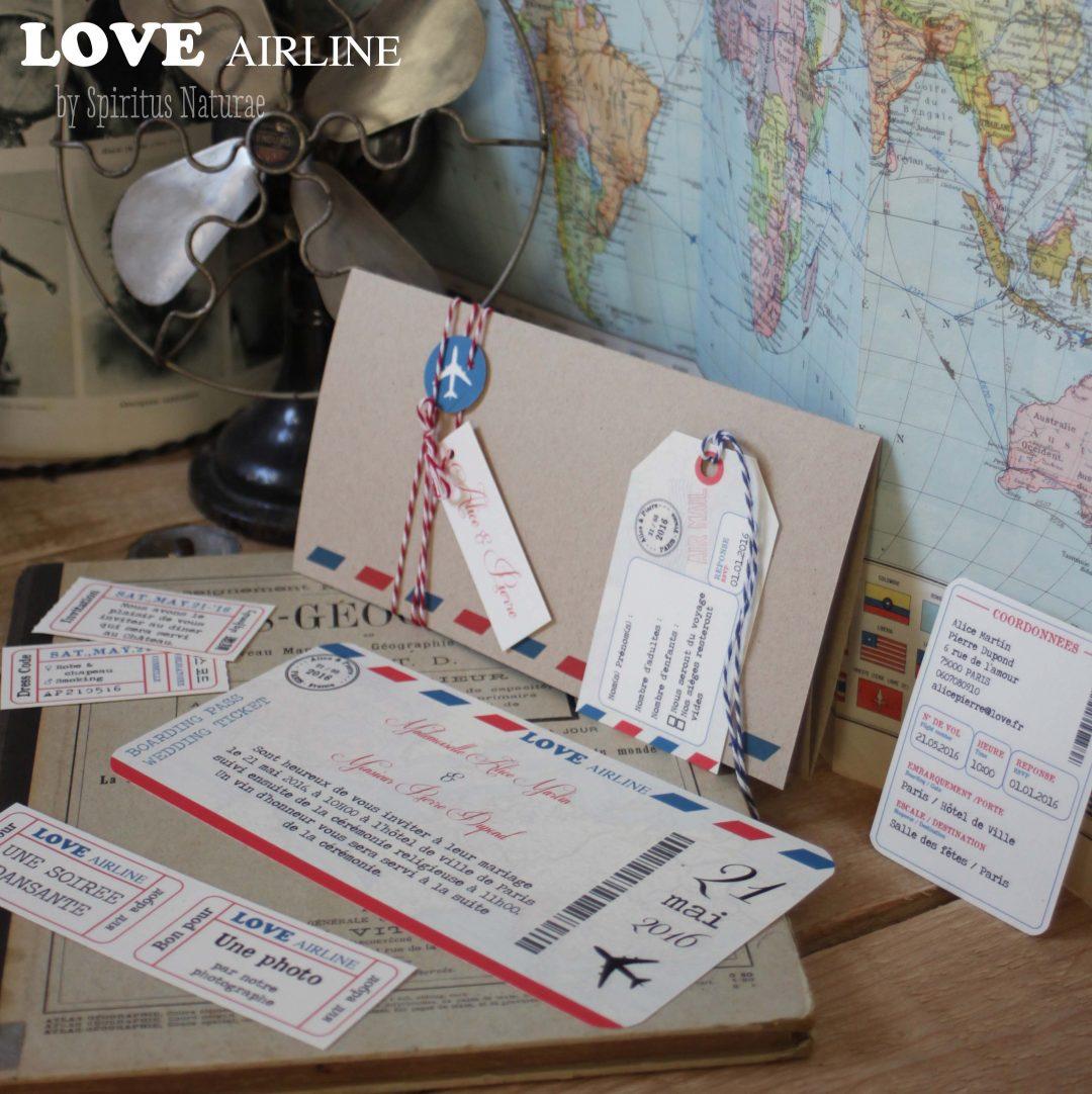 Faire part – LOVE AIRLINE – billet d'avion – Spiritus Naturae