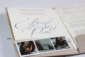 Margot & Pierre faire-part mariage su rmesure, kraft, enfance, bleu, calligraphie, spiritus naturae