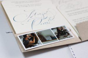 Margot & Pierre, faire-part mariage su rmesure, kraft, enfance, bleu, calligraphie, spiritus naturae
