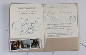 Margot & Pierre, intérieur pochette, faire-part mariage su rmesure, kraft, enfance, bleu, calligraphie, spiritus naturae