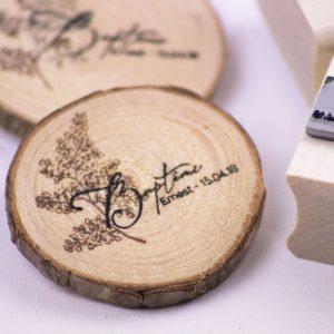 magnet, rondin de bois, tampon sur mesure, baptême, fougère, nature, forêt, spiritus naturae, 2