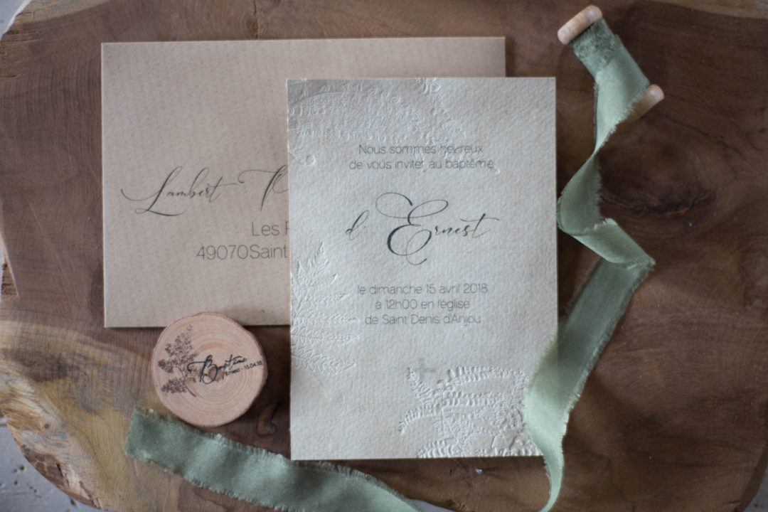 Invitation baptême, nature fougère, papier chiffon, embossage, spiritus naturae-1