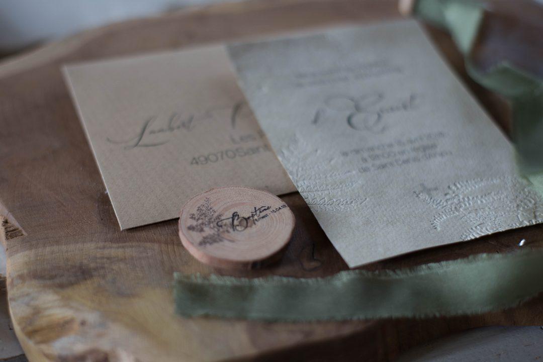 Invitation baptême, nature fougère, papier chiffon, embossage, spiritus naturae-2