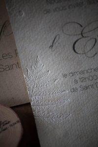 Invitation baptême, nature fougère, papier chiffon, embossage, spiritus naturae-4