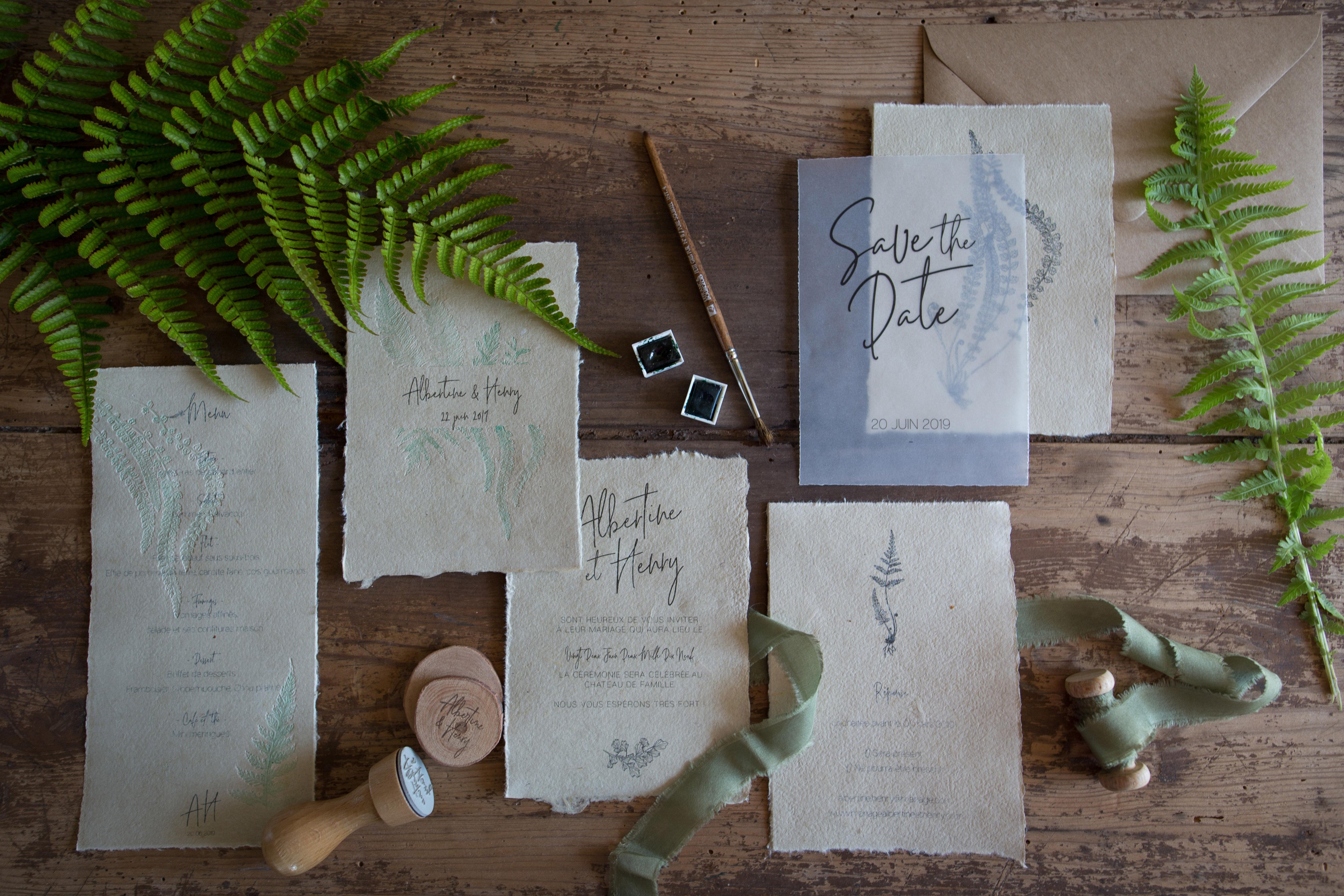 Collection fougère, faire-part, save the date, invitation, tampon, spiritus naturae-1