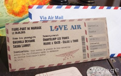 Faire-part BILLET D'AVION 2, voyage, travel, retro, vintage, ticket plane - spiritus naturae