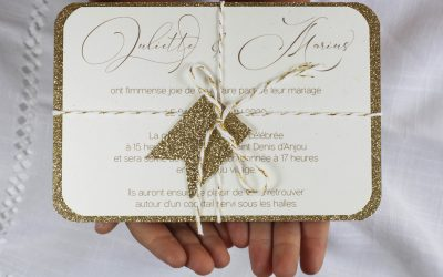 carte invitation fanion, paillette chic, doré, calligraphie, spiritus naturae