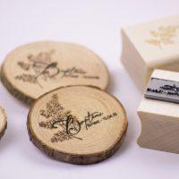 magnet, rondin de bois, tampon sur mesure, baptême, fougère, nature, forêt, lot 2 tampons, spiritus naturae, 4